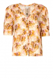 Dante 6 |  Blouse with leaves print Esmay | pink  | Picture 1