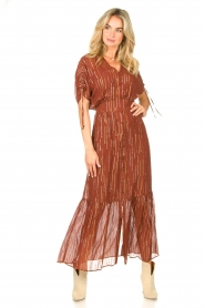 Dante 6 |  Maxi button through dress with lurex Freya | brown  | Picture 2