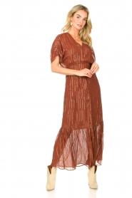 Dante 6 |  Maxi button through dress with lurex Freya | brown  | Picture 4