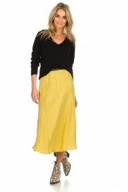 Lolly's Laundry |  Midi skirt with glitter stripes Cuba | yellow  | Picture 2