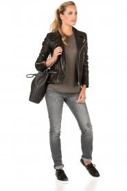 MICHAEL Michael Kors | Leren sneakers Stevie | zwart  | Afbeelding 2