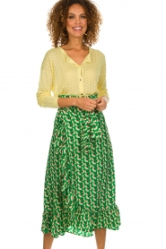 Lolly's Laundry |  Printed maxi skirt Amby | green  | Picture 2