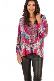 Camilla | Zijden lace-up blouse Desert Discotheque | roze  | Afbeelding 2