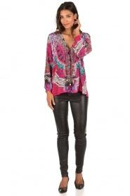 Camilla | Zijden lace-up blouse Desert Discotheque | roze  | Afbeelding 3
