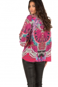 Silk lace-up blouse with Swarovski Desert Discotheque | Pink