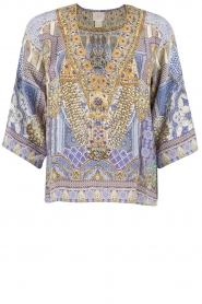 Camilla | Zijden blouse It Was All a Dream | blauw  | Afbeelding 1