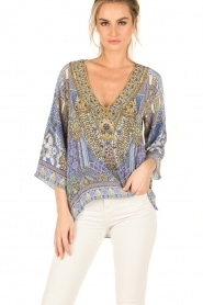 Camilla | Zijden blouse It Was All a Dream | blauw  | Afbeelding 2