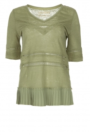 Patrizia Pepe |  Linen top with lace Leila | green  | Picture 1