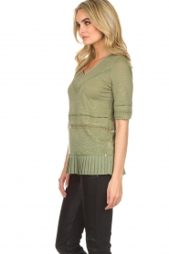 Patrizia Pepe |  Linen top with lace Leila | green  | Picture 4