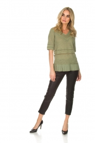Patrizia Pepe |  Linen top with lace Leila | green  | Picture 3