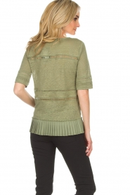 Patrizia Pepe |  Linen top with lace Leila | green  | Picture 5