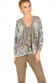 Camilla   Zijden lace-up blouse Weave Of Humanity   blauw    Afbeelding 2