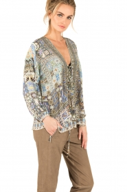 Camilla   Zijden lace-up blouse Weave Of Humanity   blauw    Afbeelding 4