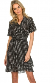 Lolly's Laundry |  Polkadot wrap dress Amber | black  | Picture 2