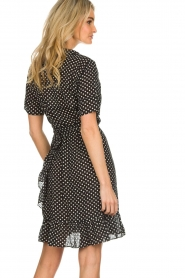 Lolly's Laundry |  Polkadot wrap dress Amber | black  | Picture 5