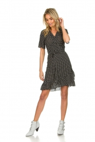 Lolly's Laundry |  Polkadot wrap dress Amber | black  | Picture 3