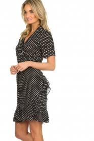 Lolly's Laundry |  Polkadot wrap dress Amber | black  | Picture 4