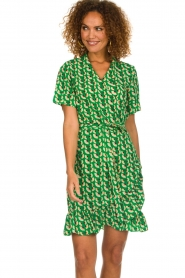 Lolly's Laundry |  Printed wrap dress Amber | green  | Picture 4