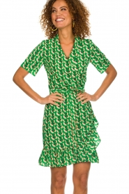 Lolly's Laundry |  Printed wrap dress Amber | green  | Picture 2