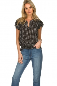 Lolly's Laundry |  Polkadot top Paola | black  | Picture 2