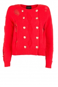 Atos Lombardini |  Cardigan with ripped details Rosita | red  | Picture 1