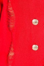 Atos Lombardini |  Cardigan with ripped details Rosita | red  | Picture 6