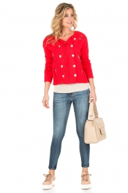 Atos Lombardini |  Cardigan with ripped details Rosita | red  | Picture 3