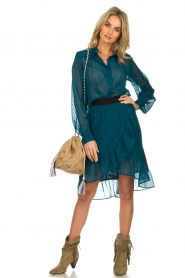 Lolly's Laundry | Stippen blouse met glinstering Molly | blauw  | Afbeelding 3