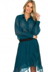 Lolly's Laundry | Stippen blouse met glinstering Molly | blauw  | Afbeelding 2