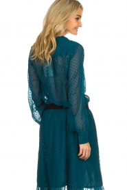 Lolly's Laundry | Stippen blouse met glinstering Molly | blauw  | Afbeelding 5