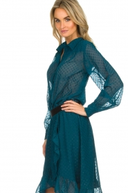 Lolly's Laundry | Stippen blouse met glinstering Molly | blauw  | Afbeelding 4