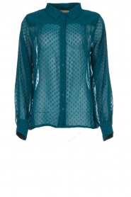 Lolly's Laundry | Stippen blouse met glinstering Molly | blauw  | Afbeelding 1