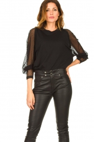 IRO : Top with see-through sleeves Jacky | black - img4