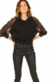 IRO : Top with see-through sleeves Jacky | black - img2
