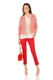 Atos Lombardini |  Double breasted blazer Joline | red/white  | Picture 3