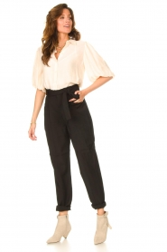Dante 6 |  Textured blouse with puff sleeves Lecce | natural  | Picture 3