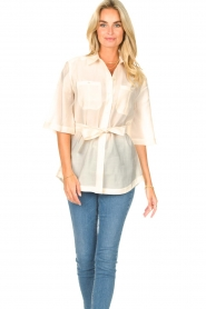 Dante 6 |  Long blouse with tie waist Radical | natural  | Picture 2
