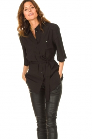 Dante 6 |  Long blouse with tie waist Radical | black  | Picture 5