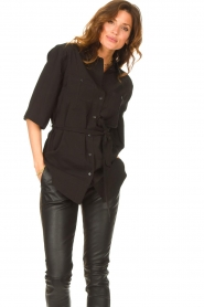 Dante 6 |  Long blouse with tie waist Radical | black  | Picture 2