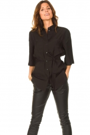 Dante 6 |  Long blouse with tie waist Radical | black  | Picture 4