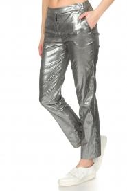 Patrizia Pepe | Metallic broek Dua | zilver  | Afbeelding 4