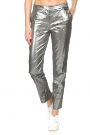Patrizia Pepe | Metallic broek Dua | zilver  | Afbeelding 2