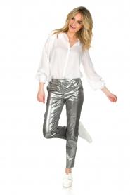 Patrizia Pepe | Metallic broek Dua | zilver  | Afbeelding 3