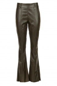 Nenette |  Faux leather flared pants Elenco | green  | Picture 1