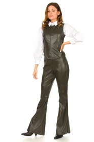 Nenette |  Faux leather flared pants Elenco | green  | Picture 3