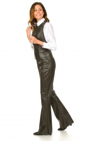 Nenette |  Faux leather flared pants Elenco | green  | Picture 2