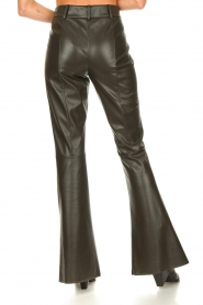 Nenette |  Faux leather flared pants Elenco | green  | Picture 6