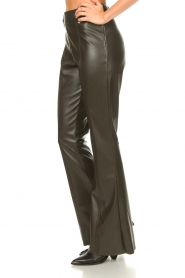 Nenette |  Faux leather flared pants Elenco | green  | Picture 5