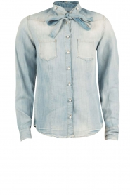 Atos Lombardini | Denim pussybow blouse Nessa | blauw  | Afbeelding 1