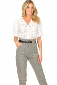 Dante 6 |  Openwork blouse with puff sleeves Kenzly | white  | Picture 2